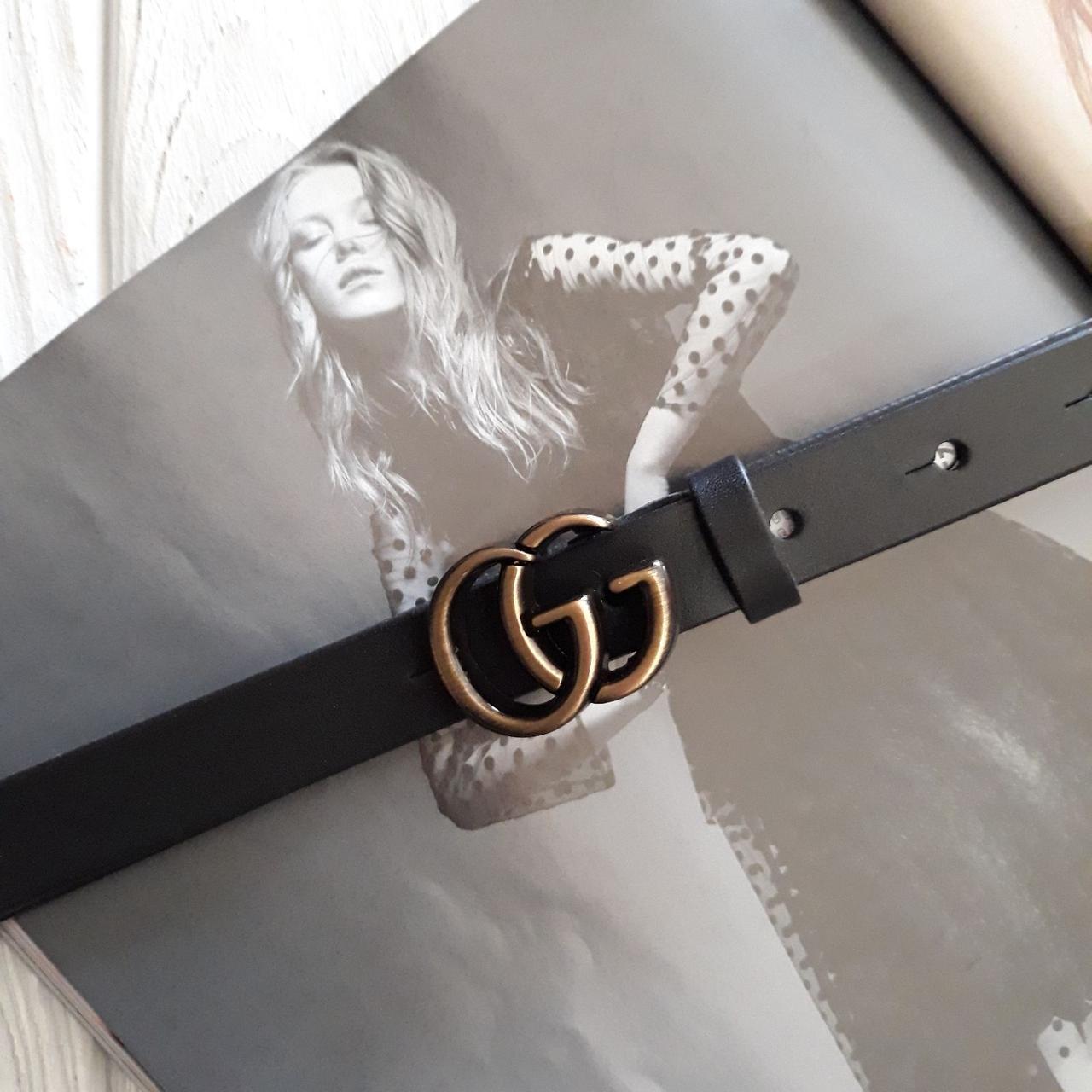 Женский кожаный ремень Гуччи реплика Черный