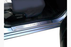 Накладки на пороги Турция (4 шт, нерж) OmsaLine - Итальянская нержавейка - Mitsubishi Lancer 9 2004-2008 гг.