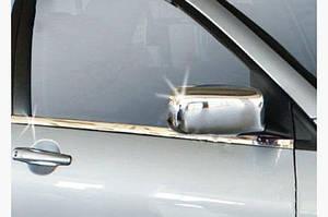 Накладки на зеркала (2 шт) Полированная нержавейка - Mitsubishi Lancer 9 2004-2008 гг.