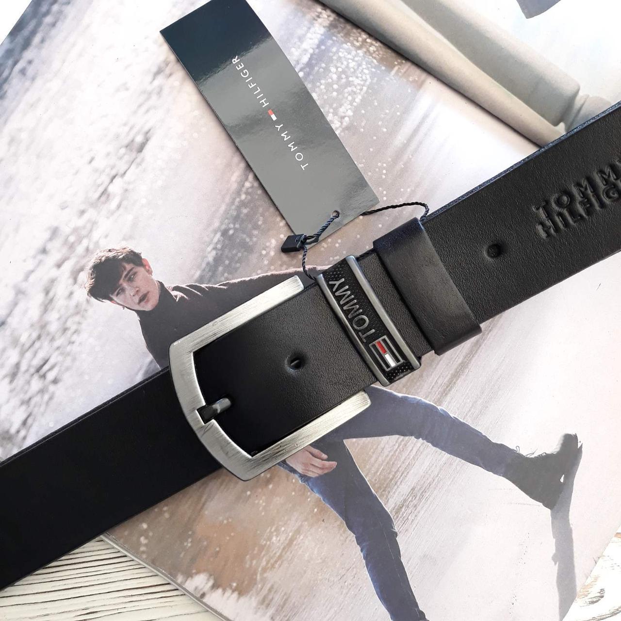 Мужской кожаный ремень Томми Хилфигер реплика Черный
