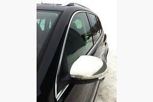 Накладки на зеркала (2 шт, нерж) OmsaLine - Итальянская нержавейка - Volkswagen Tiguan 2007-2016 гг.