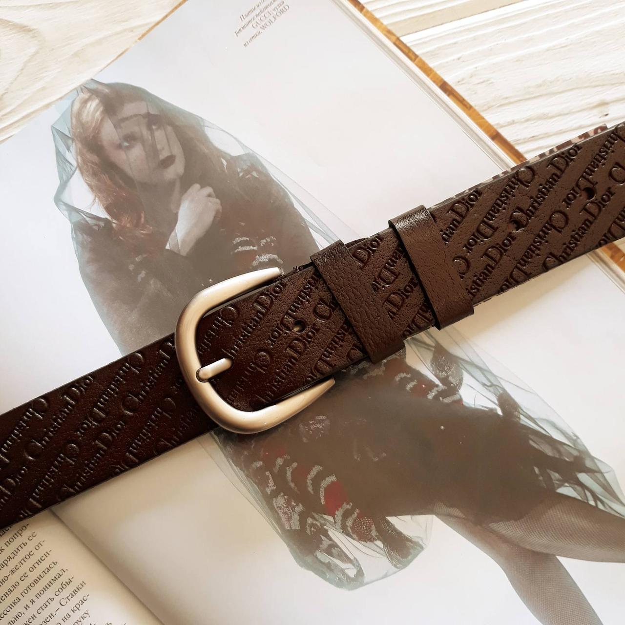 Женский кожаный ремень Диор реплика Коричневый