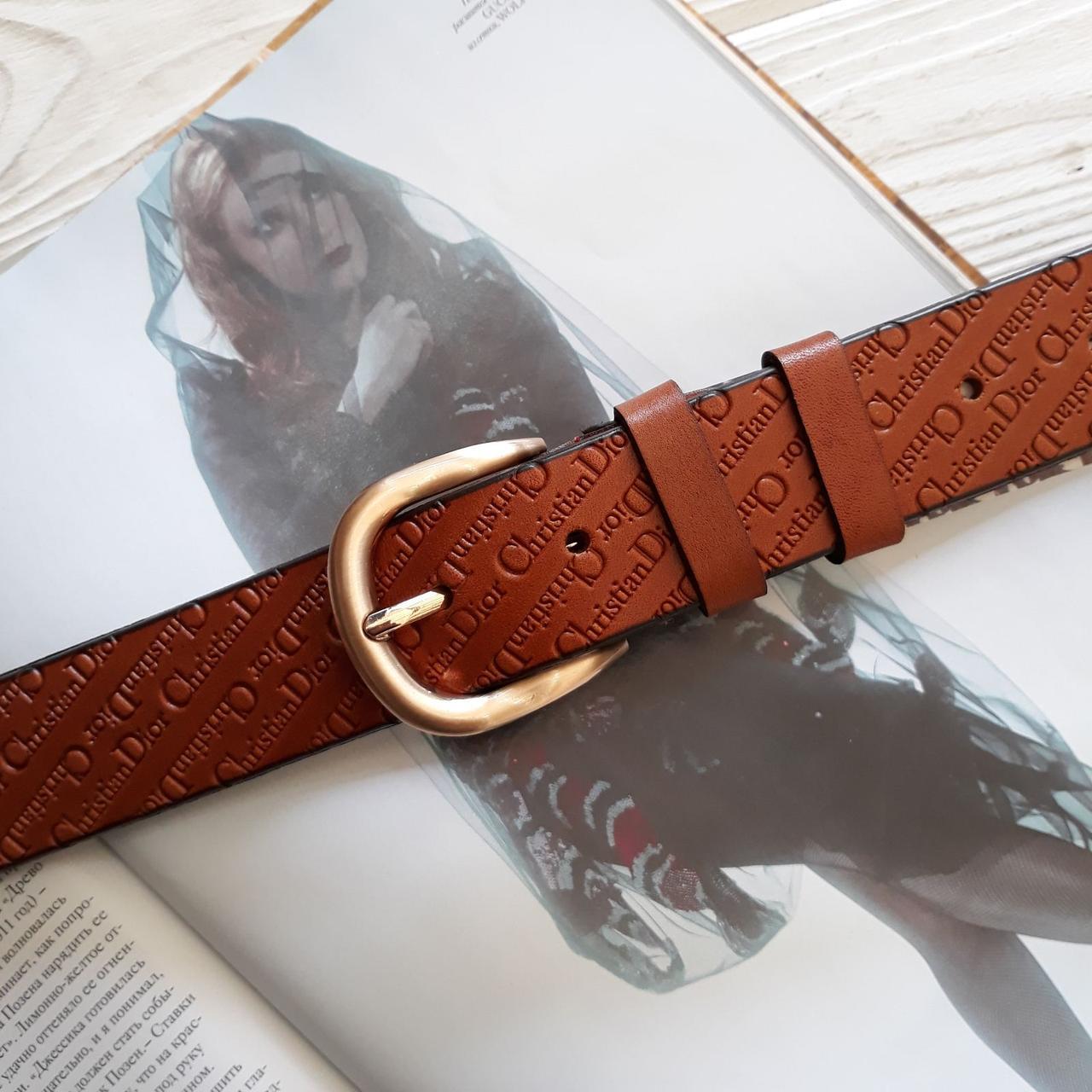 Женский кожаный ремень Диор реплика Светло-коричневый