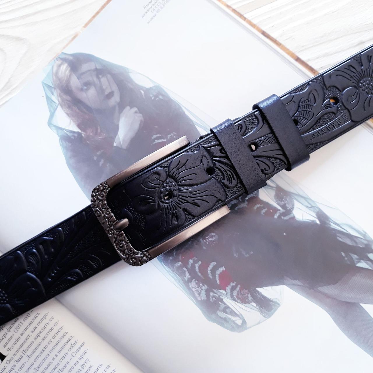 Женский кожаный резной ремень Темно-синий