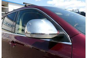 Накладки на зеркала 2007-2010 ( 2 шт, нерж) Carmos - Турецкая сталь - Volkswagen Touareg 2002-2010 гг.