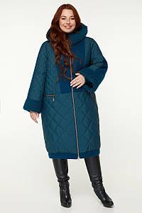 Теплое комбинированное женское пальто больших размеров 56-68