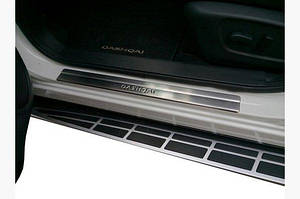 Накладки на пороги (Omsa, 4 шт, нерж.) - Nissan Qashqai 2014↗ гг.