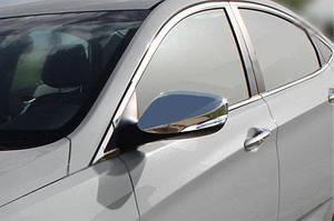 Накладки на зеркала без повторителя (2 шт, нерж.) - Hyundai Elantra 2011-2015 гг.