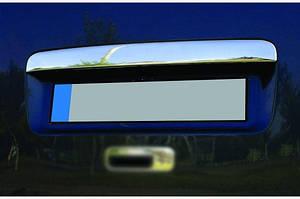 Накладка над номером (1 дверн, нерж) OmsaLine - Итальянская нержавейка (с надписью) - Volkswagen Caddy