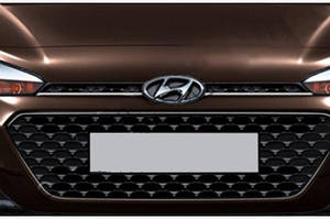 Накладки на решетку (2 шт, нерж) - Hyundai I-20 2014-2018 гг.