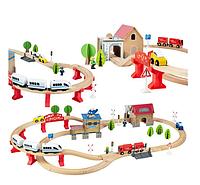 Детская деревянная дорога, поезд на батарейках, 89 елементов Польша