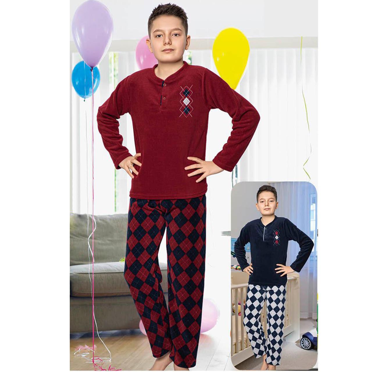 Пижама детская для мальчика зимняя флисовая Турция 6-10 лет, костюм для дома