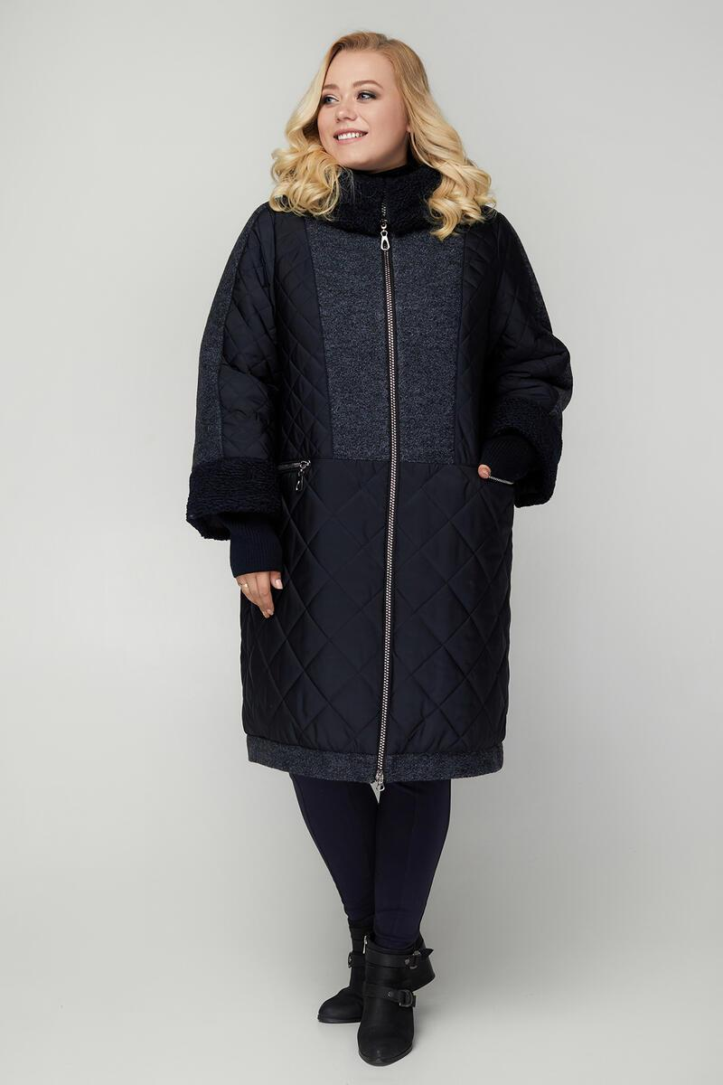 Теплое комбинированное женское пальто больших размеров 54-68
