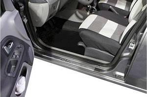 Накладки на пороги Carmos (4 шт, нерж.) - Renault Clio и Symbol 2009-2012 гг.