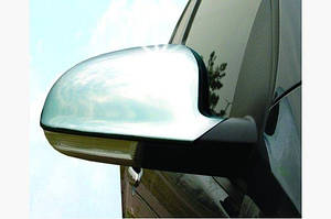 Накладки на зеркала (2 шт, нерж) OmsaLine - Итальянская нержавейка - Volkswagen EOS 2006-2011 гг.