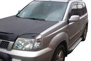 Боковые пороги Allmond Grey (2 шт, алюм.) - Nissan X-trail T30 2002-2007 гг.