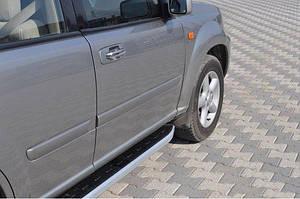 Боковые пороги Fullmond (2 шт, алюм.) - Nissan X-trail T30 2002-2007 гг.