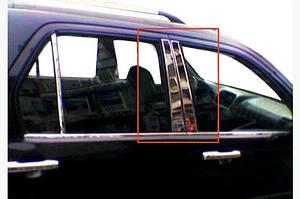 Молдинг дверных стоек (6 шт, нерж.) - Honda CRV 2001-2006 гг.