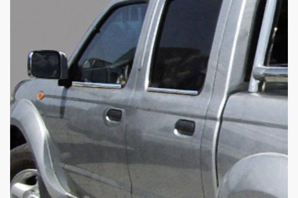 Наружняя окантовка стекол (4 шт, нерж.) OmsaLine - Итальянская нержавейка - Nissan NP300 1999-2015