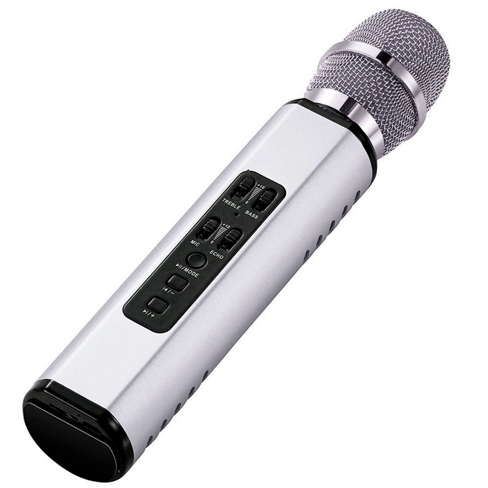 Караоке микрофон Losso K6 Premium серебристый со стерео звуком