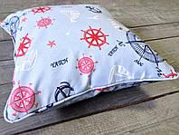 Подушка декоративная из ткани на морскую тематику