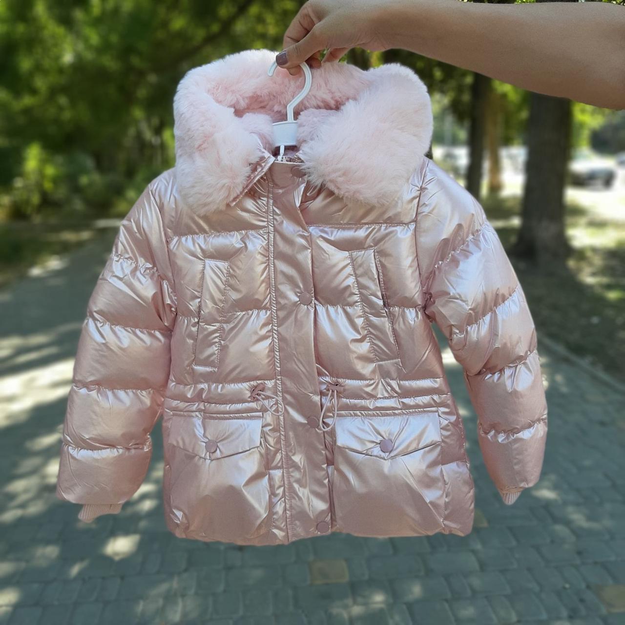 Зимняя куртка для девочки Розовый перламутр р. 146