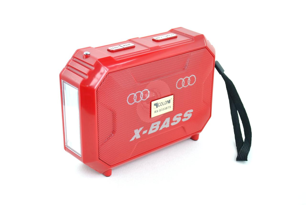 Портативная колонка Golon RX-S333 BTS (Bluetooth, USB, SD, AUX, FM, ремень) Red