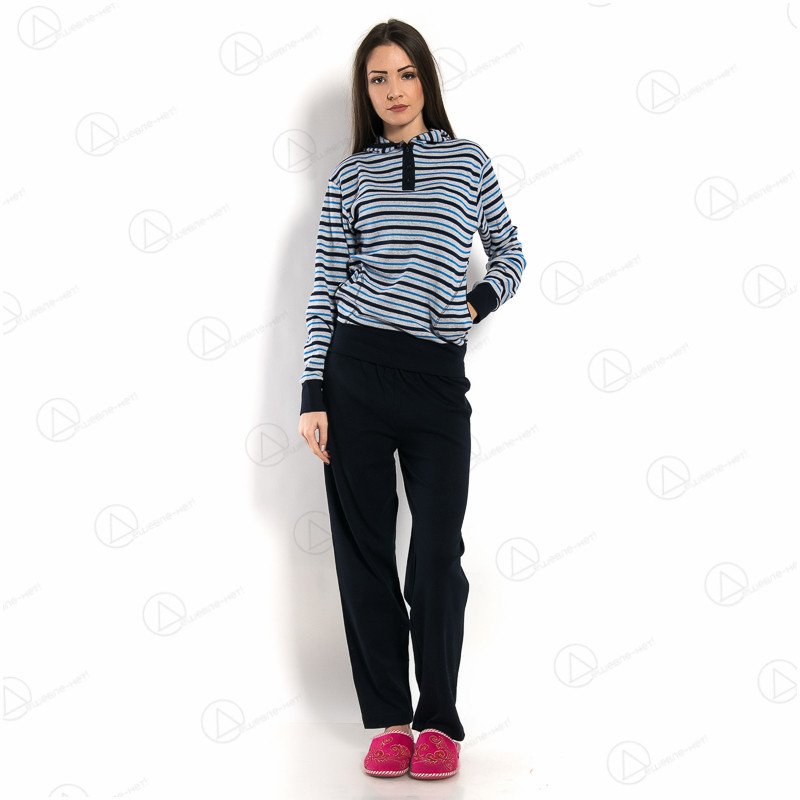 Разноцветная пижама женская интерлок с капюшоном Dalmina SKL-DLMN53010