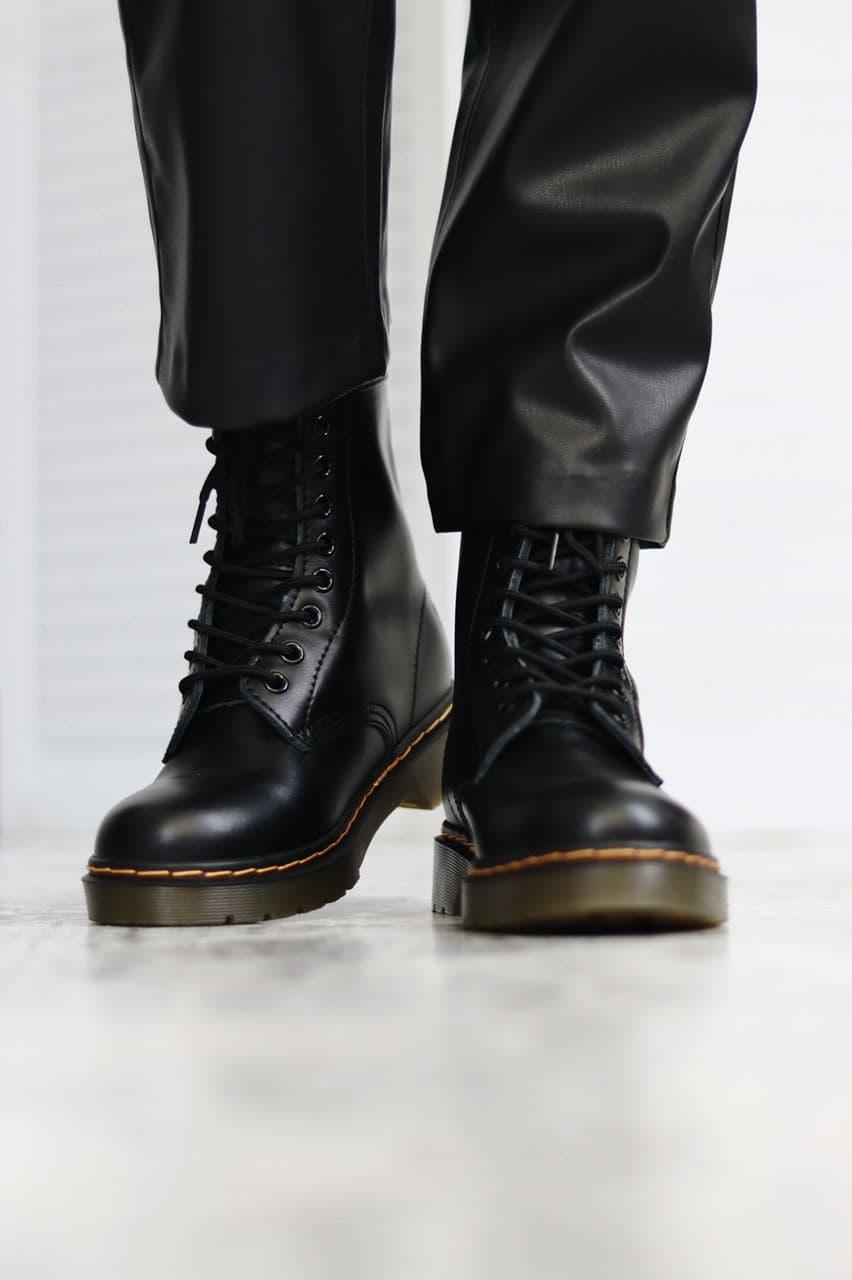Женские  ботинки Dr. Martens 1460 Black Fur  черные (копия)