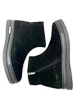 Мужские зимние ботинки натуральная замша натуральный мех черные без каблука
