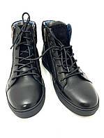 Мужские зимние ботинки натуральная кожа натуральный мех черные на шнурках
