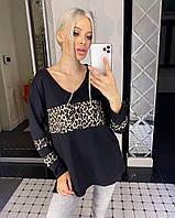 Женский пуловер из дайвинга с леопардовыми вставками, фото 1