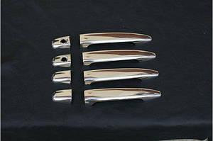 Накладки на ручки (4 шт, нерж.) OmsaLine, Итальянская нержавейка - Toyota LC 120 Prado