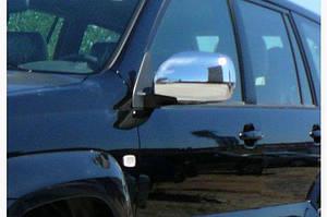 Накладки на зеркала (2 шт, нерж) OmsaLine - Итальянская нержавейка - Toyota LC 120 Prado