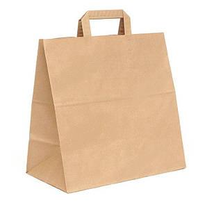 Пакет бумажный с дном 26х14х26 см., 70 г/м2, 350 шт/ящ с плоскими ручками, бурый крафт ( Аналог 806000)