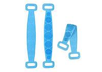 Двухсторонняя силиконовая мочалка-массажер для тела Silica Gel Bath Brush голубая 184091