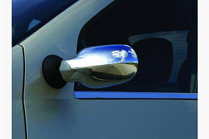 Накладки на зеркала (2 шт) Carmos - Хромированный пластик - Renault Logan I 2005-2008 гг.