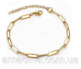 Ніжний жіночий браслет з медичної сталі stainless steel золотий, тонкий браслет сталь золото