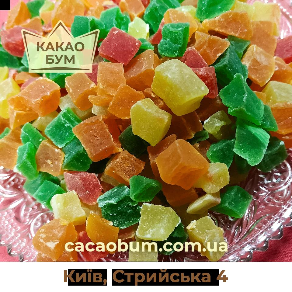 Ананас кубики цукати сушені  кольорові 300 г