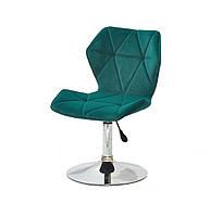 Бархатное зеленое кресло на круглом хромированном основании для салонов, мастеров, клиентов Torino CH - Base