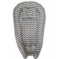 """Кокон гнездышко (позиционер для новорожденных). Цвет:серый волна. В подарок ортопедическая подушка """"бабо"""