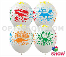 """Шары латексные ТМ Арт-студия """"SHOW"""" Динозавры на белом 12"""" (30см), 10 шт"""