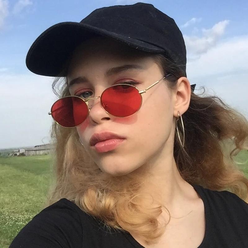 Солнцезащитные очки красные стеклянные овальные