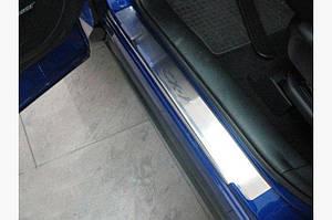 Накладки на пороги Натанико (4 шт, нерж.) Premium - лента 3М, 0.8мм - Mazda CX-7 2006-2012 гг.