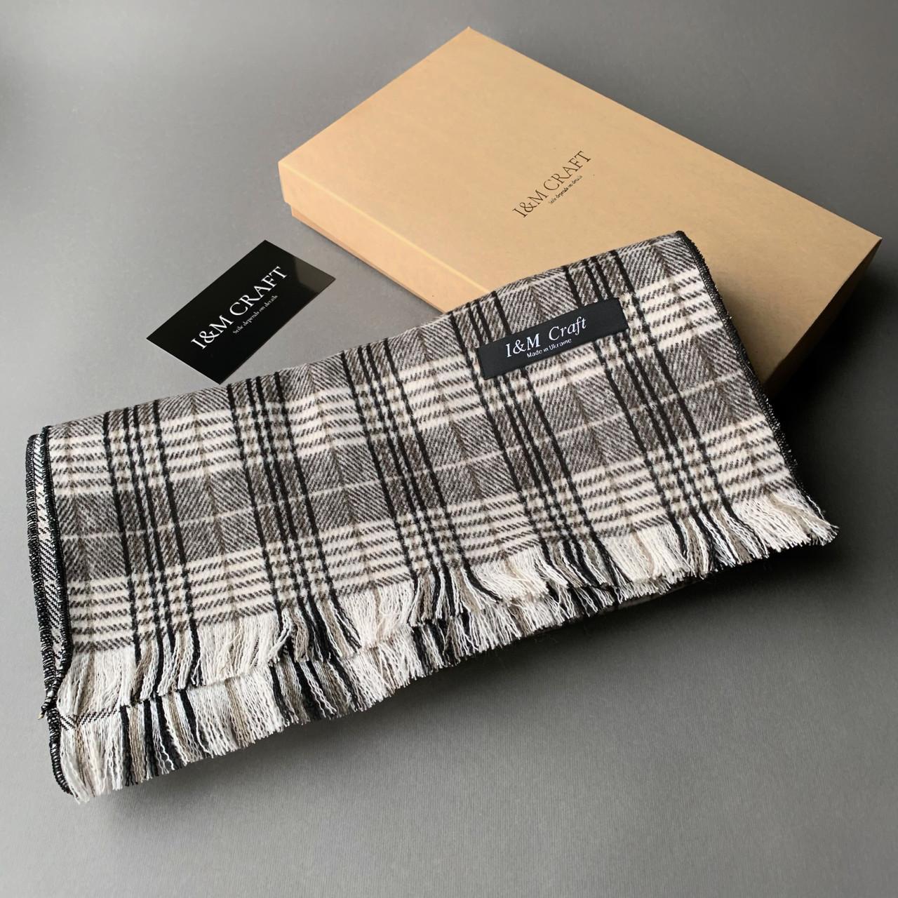 Шарф I&M Craft мужской, серый в клеточку (090319)