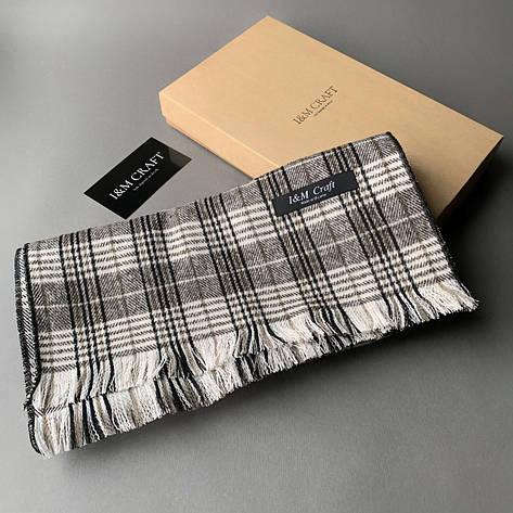 Шарф I&M Craft мужской, серый в клеточку (090319), фото 2