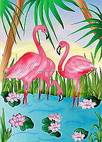 Роспись по холсту «Розовые фламинго» 25*35 см (КНО7125), фото 4