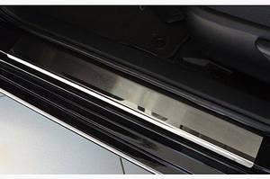 Накладки на пороги Натанико (4 шт, нерж.) Стандарт - лента Lohmann, 0.5мм - Toyota Camry 2011-2018 гг.