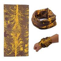 Бафф бандана-трансформер, шарф из микрофибры, 26 желтые ветки