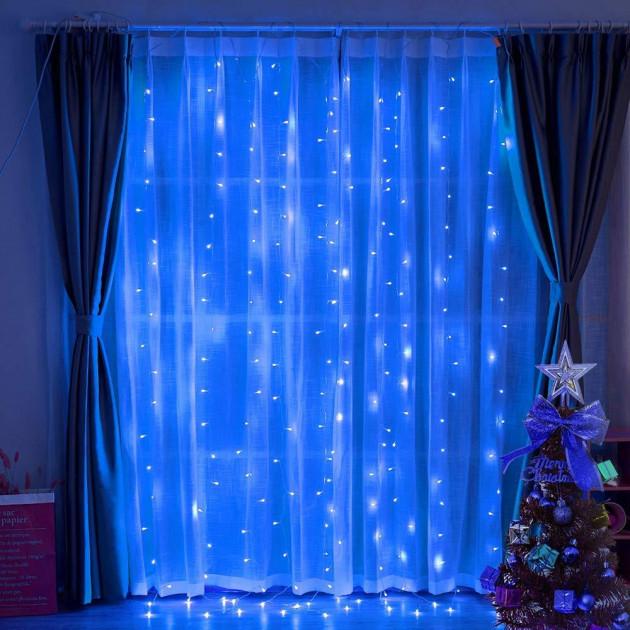 Светодиодная гирлянда LTL штора занавес curtain 3x3 метра 300 led 220v Синий